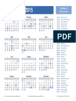 2015 Yearly Holiday Calendar