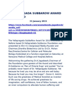 Yellapragada Subbarow Award Presented Imp