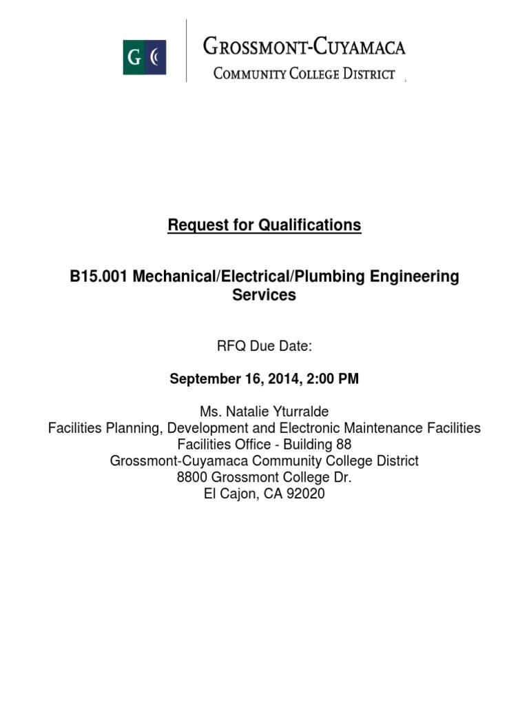 B15 001 RFQ for Mechanical Engineering Plumbing