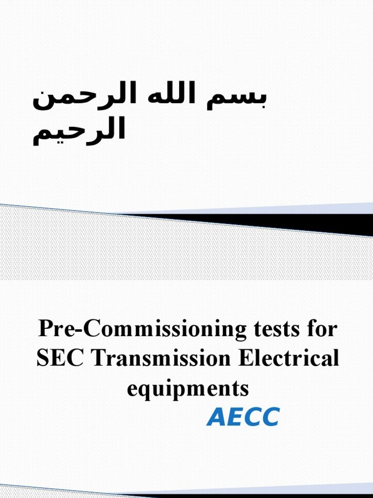01-Pre-Commissioning Tests for SEC Transmission Electrical