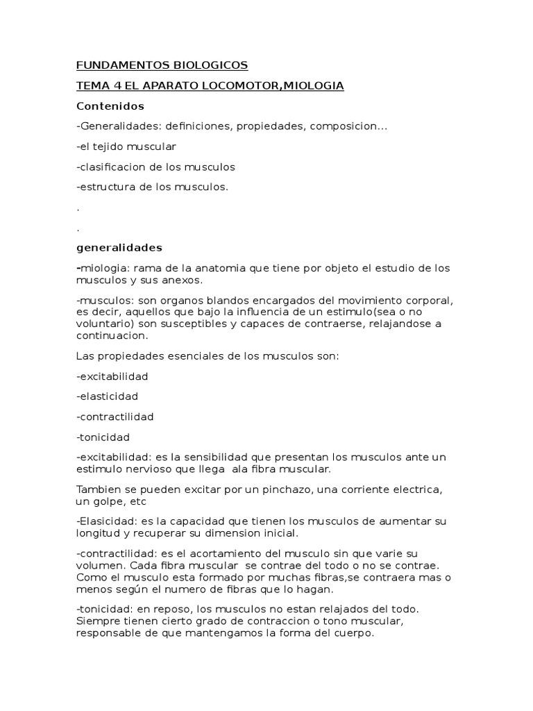 Fundamentos Biologicos Tema 4 El Aparato Locomotor