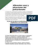 DIFERENTES APLICACIONES DE POLICARBONATO