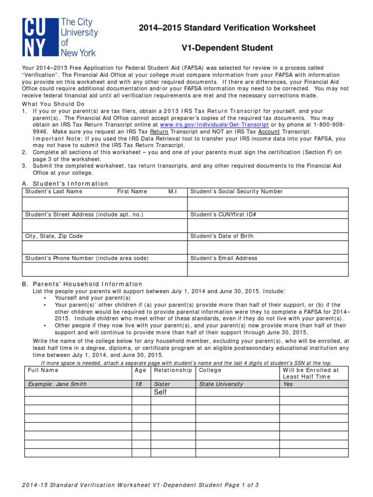 {Dependant Verification Worksheet Sharebrowse – Dependent Verification Worksheet
