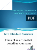 Management of English Language in Schools - Curriculum Leaders