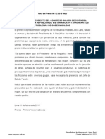 PRIMER  VICEPRESIDENTE DEL  CONGRESO SALUDA DECISIÓN DEL PRESIDENTE DE LA REPÚBLICA DE VISITAR  ANCASH Y AFRONTAR LOS PROBLEMAS DE GOBERNABILIDAD