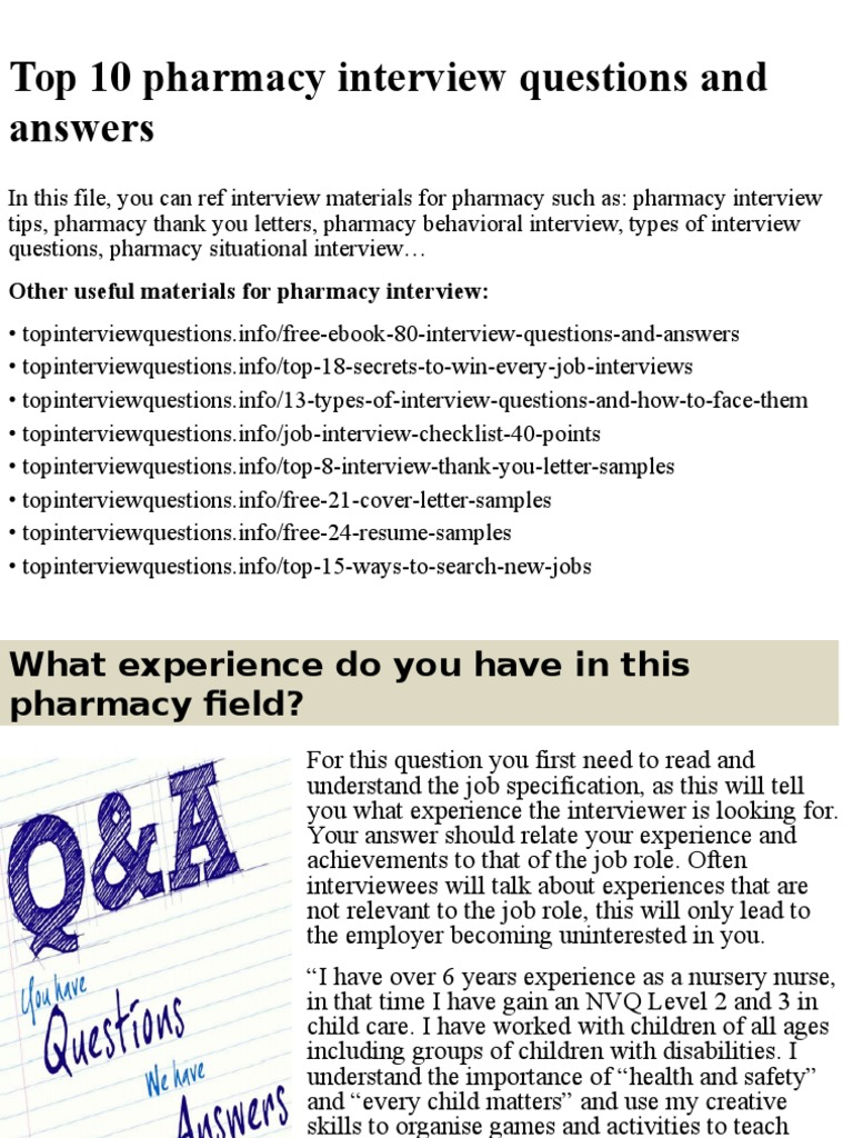 top 10 pharmacy interview questions and answers pptx pharmacy