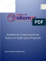 Examen de Comprensión de Textos en Inglés Para Posgrado 2015