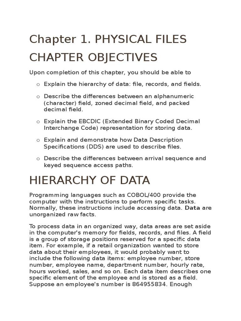 Physical File basics | Binary Coded Decimal | Database Index
