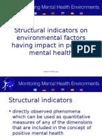 Structural indicators on environmental factors having impact in positive mental health
