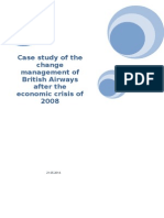 Case Study of the Change Management of British Airways After the Economic Crisis of 2008