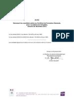 CFG Versailles - Admis Session 122014