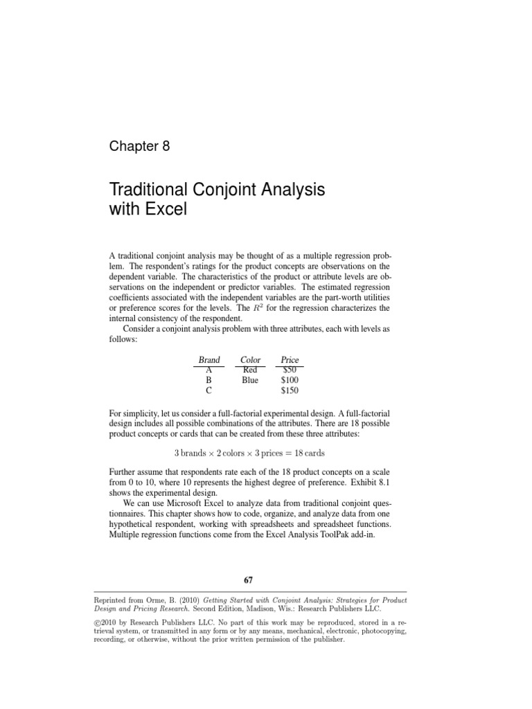 Traditional Conjoint Analysis With Excel | Errors And