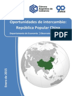 Informe de Oportunidades de Intercambio Con China, CAC, Enero2015