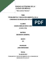 Biografia Magdalena Petlacalco y Problemática y Educación Ambiental