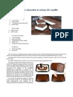 Carrés de Chocolat Et Crème de Vanille