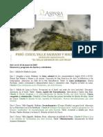 Viaje a PERÚ - Itinerario y Charlas