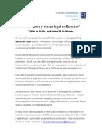 """Taller """"Periodismo y Marco Legal en Ecuador"""", Quito, 11 febrero"""
