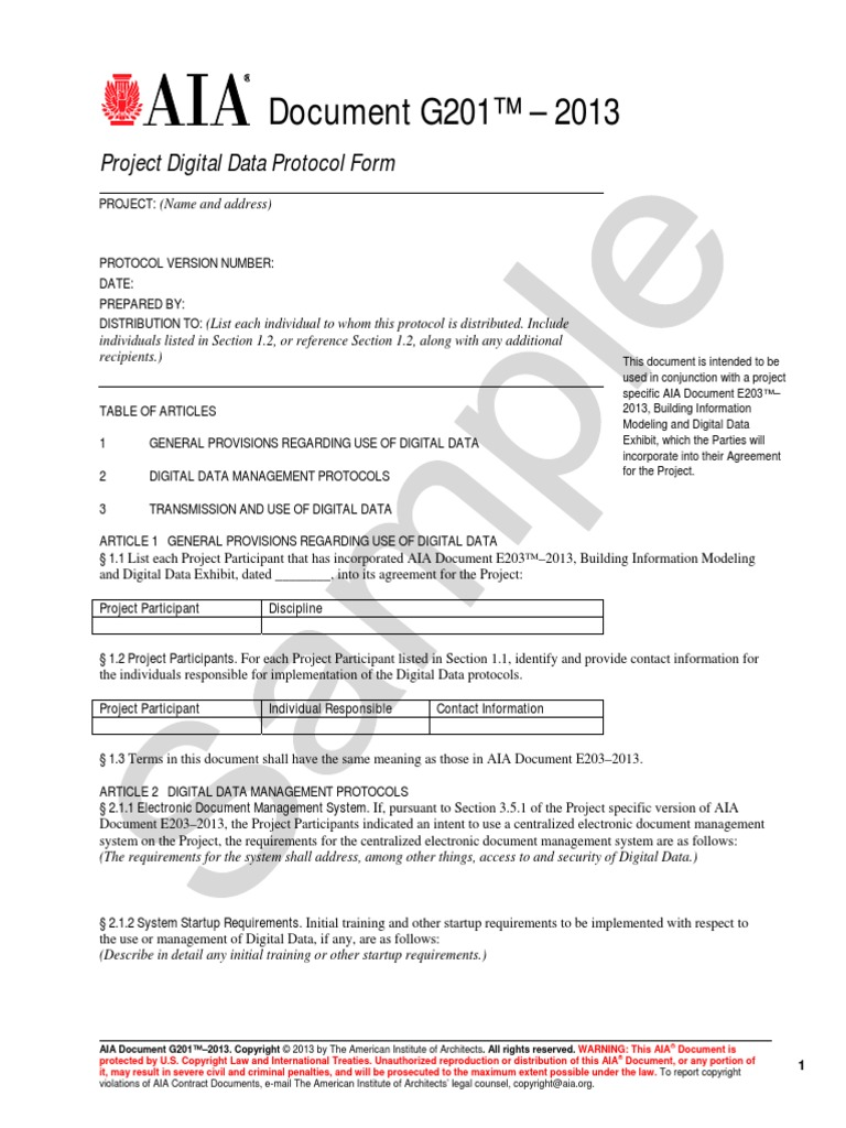 Project Digital Data Protocol Form Communications Protocols
