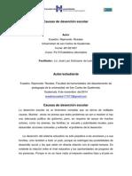 Causas de Deserción Escolar en Fraijanes, Guatemala