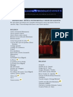 Repertorio Musica Instrumental y Show de Saxofon Enero de 2015