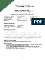 Finance 402 Outline Spring 2014