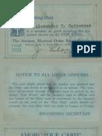 1931 AMORC Membership and Dues Card