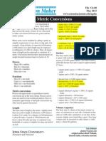Conversões de unidades de medida (Agricultura)