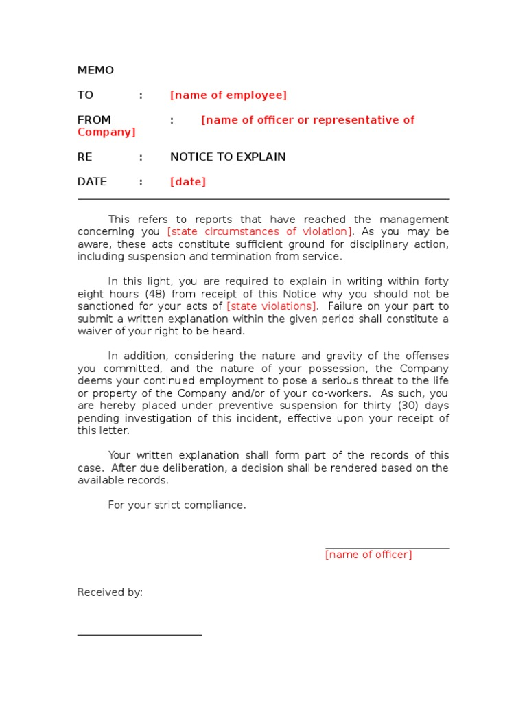 notice to explain template preventive suspension