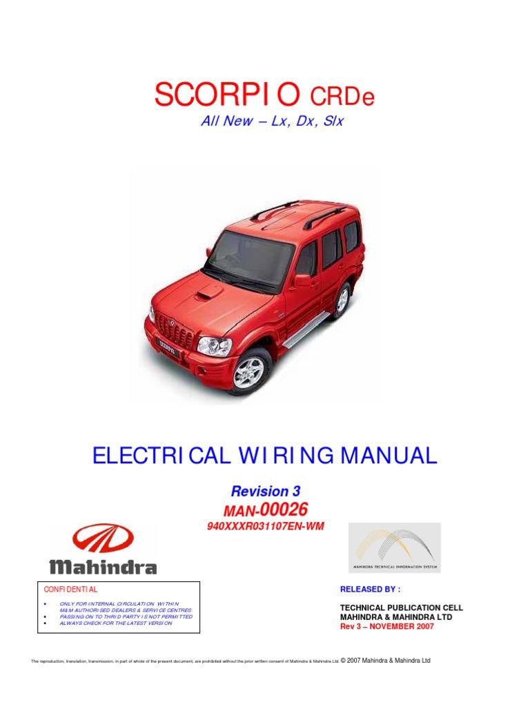 scorpio crde wiring manual rev3 reduced rh scribd com Scorpio M Tattoo Mahindra Scorpio