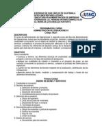 Programa USAC Administración de Operaciones II Código 08231