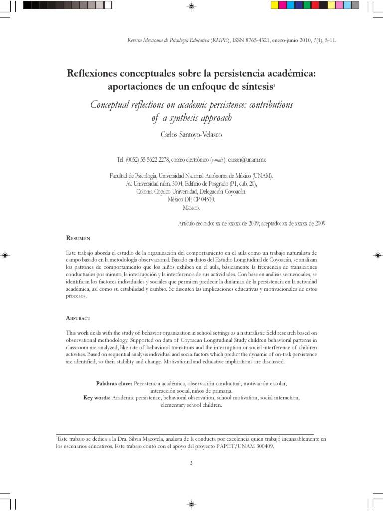 Santoyo Reflexiones Persistencia Academica