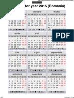 Year 2015 Calendar – Romania