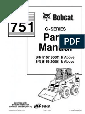 PDF Bobcat 751 Parts Manual Sn 515730001 and Above Sn