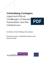 David Gurnham, Catherine Stanton and Hannah Quirk. Criminalizing Contagion