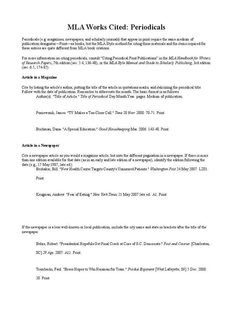 mla works cited periodicals citation mass media