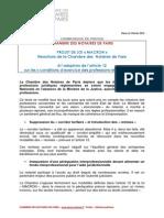 Chambre Des Notaires de Paris Communique de Presse Du 2 Fevrier 2015