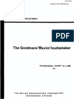 BBC Research Goodmans 'Maxim' Loudspeaker 1965-09