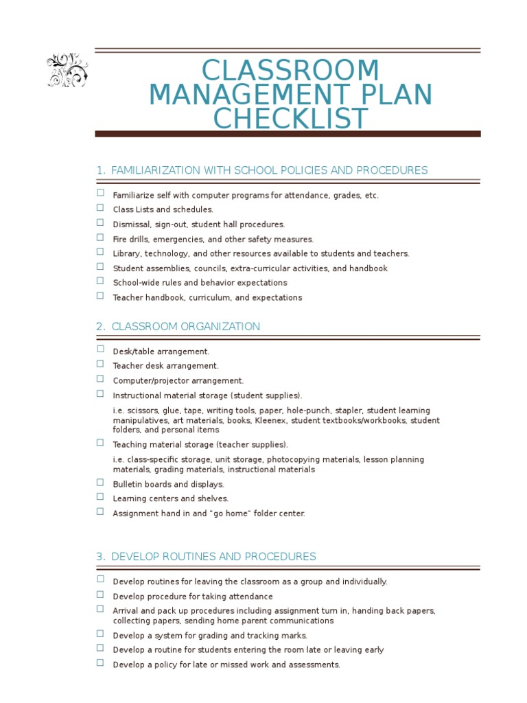 personal classroom management plan