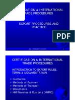 Certification & International Trade Procedures