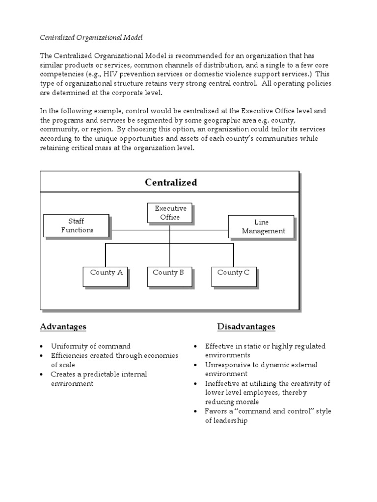 Centralized Organizational Model the Centralized ...