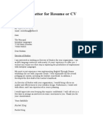 Covering Letter for Resume or CV