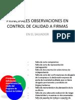 Principales Observaciones en Control de Calidad a Firmas