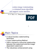 Robust lossless image watermarking based on α-trimmed mean algorithmand support vector machine