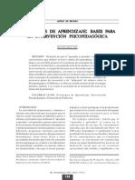 Estratgias de Aprendizaje Bases Para La Intervención Psicopedagógica