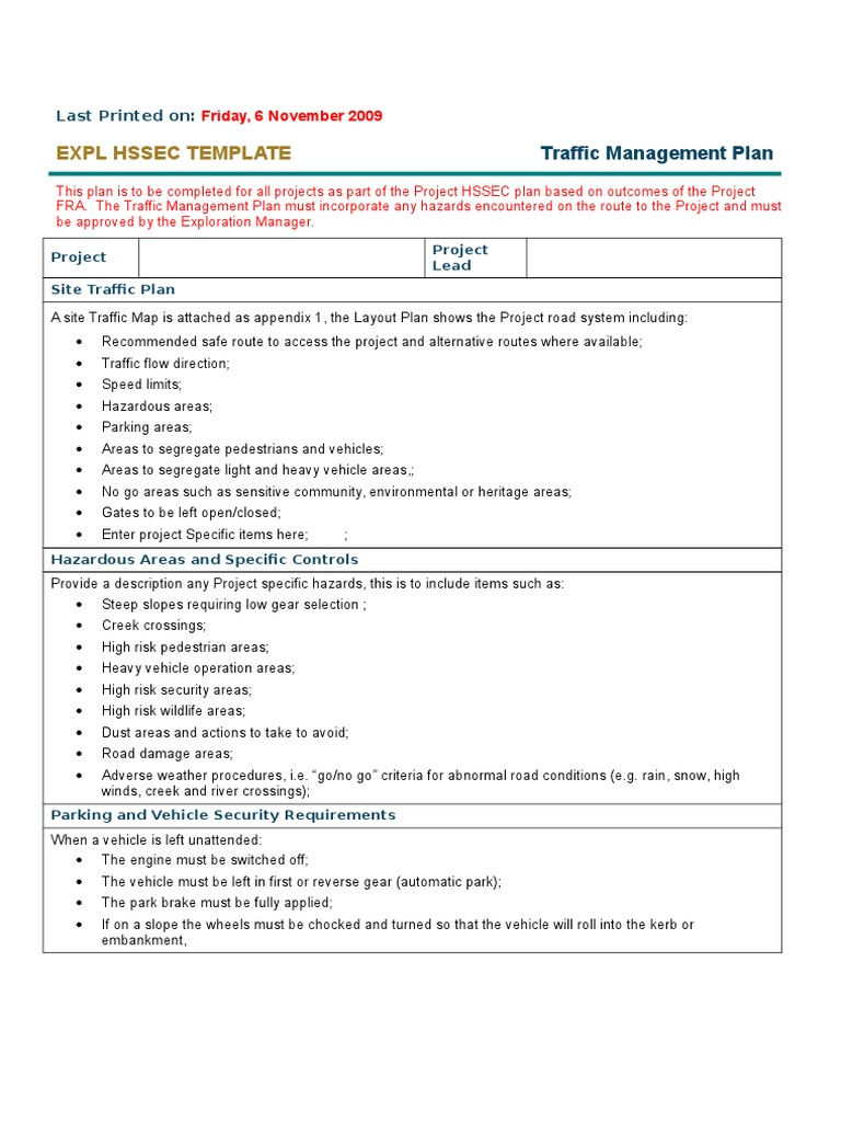 Traffic management plan template traffic road maxwellsz