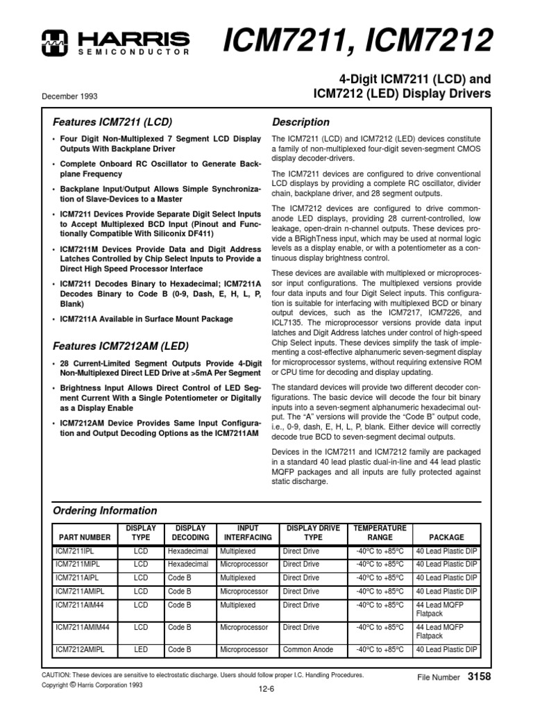 Icm7211 Electronic Oscillator Electronics Icl7135 Typical Application Schematic Diagram And Datasheet
