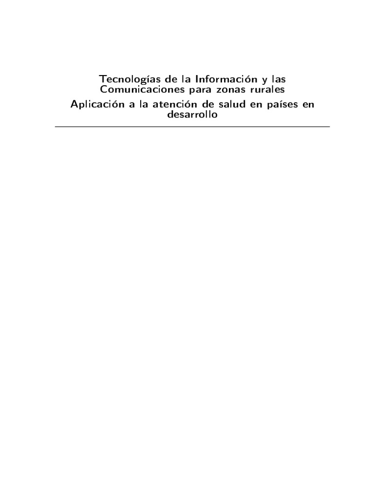 Tecnologías de la Información y las Comunicaciones para Zonas Rurales