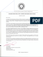 Consumer Protection Letter