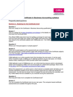 2011 CIMA Certificate Business Accounting Syllabus FAQs