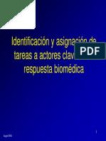 Identificacion y asignacion de tareas clave en la respuesta biomedica